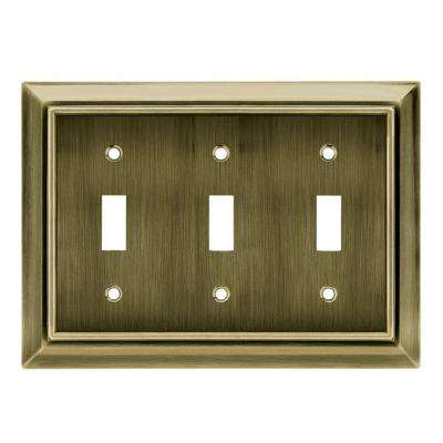 Architectural Decorative Triple Switch Plate, Antique Brass