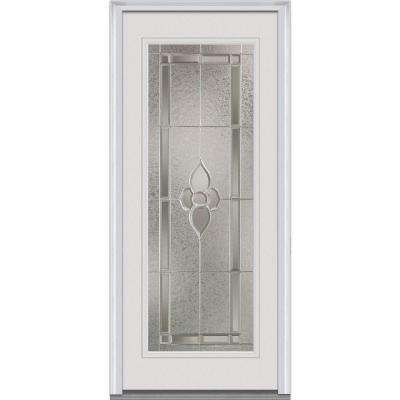 36 in. x 80 in. Master Nouveau Left Hand Full Lite Classic Primed Fiberglass Smooth Prehung Front Door