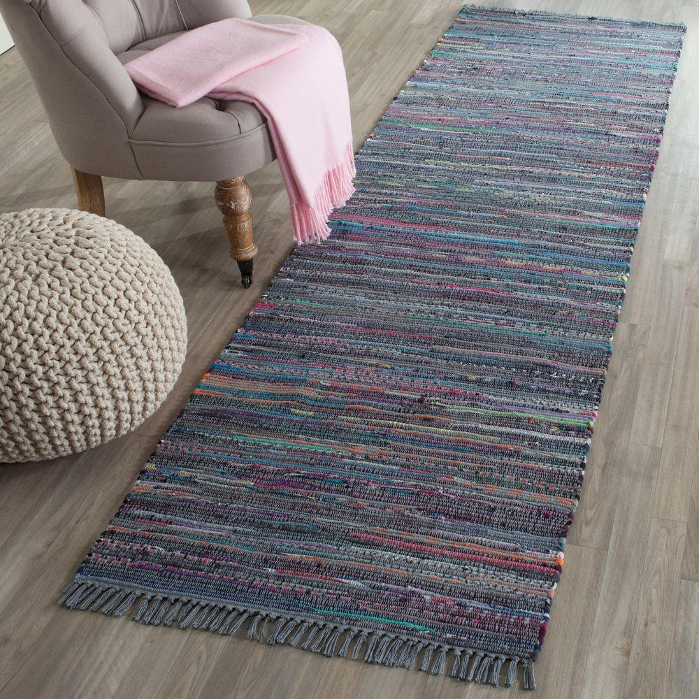 Safavieh Rag Rug Aqua/Multi 2 Ft. 3 In. X 7 Ft. Runner Rug