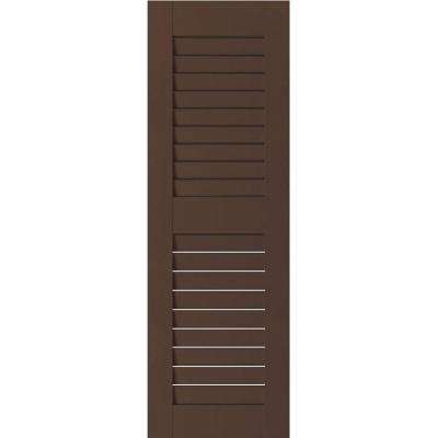 15 in. x 73 in. Exterior Real Wood Pine Louvered Shutters Pair Tudor Brown