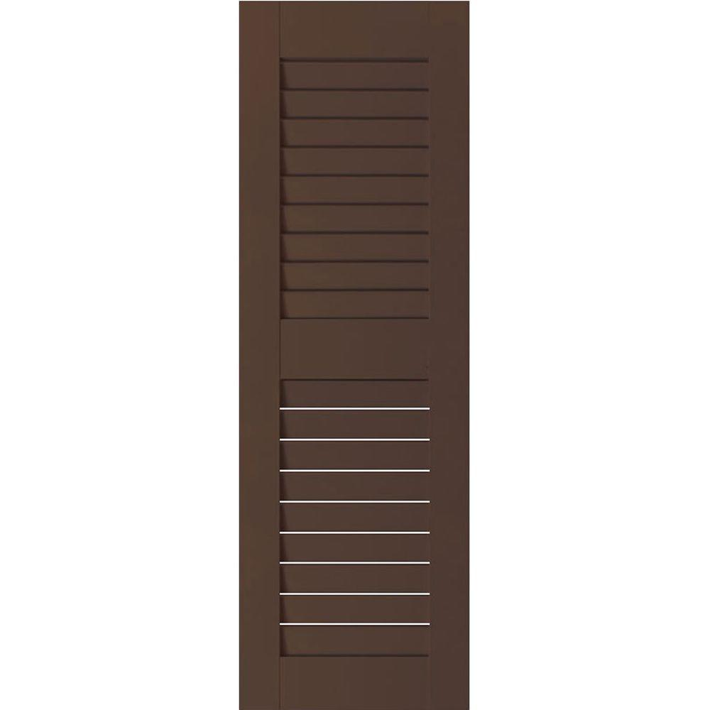 Ekena Millwork 18 in. x 76 in. Exterior Real Wood Sapele Mahogany Louvered Shutters Pair Tudor Brown