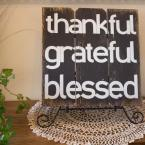 "16 in. x 16 in. ""Thankful Grateful Blessed"" by Boulder Innovations Printed Wall Art"