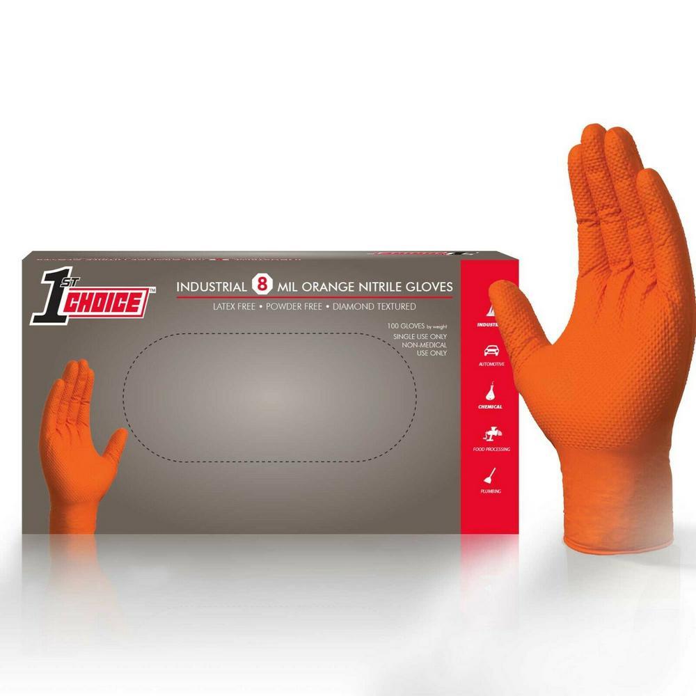 Reviews For 1st Choice Premium Orange Nitrile Mechanic Powder Free 8 Mil Disposable Gloves 100 Count X Large 1ponxlbx The Home Depot