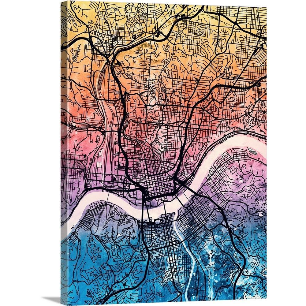 Greatbigcanvas Cincinnati Ohio City Map By Michael Tompsett Canvas - Cincinnati-ohio-on-us-map