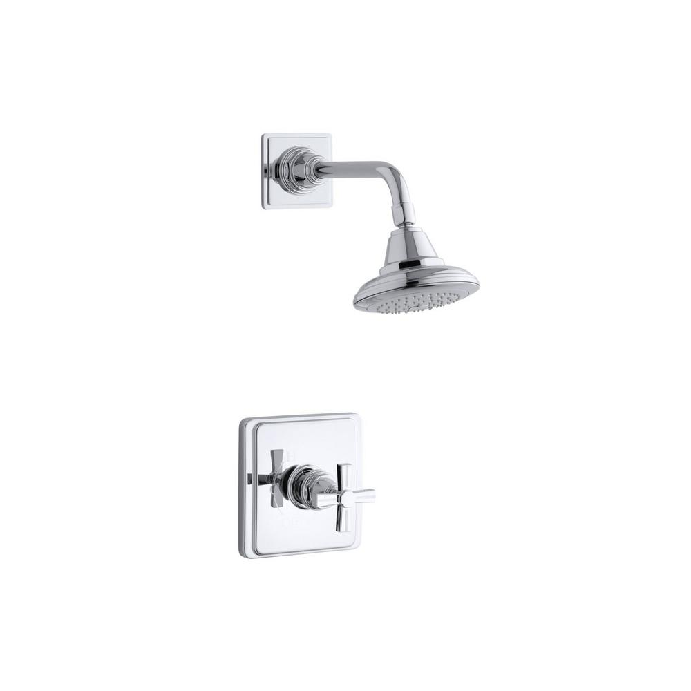 Pinstripe 1-Spray 6.6875 in. 2.5 GPM Fixed Shower Head with Cross
