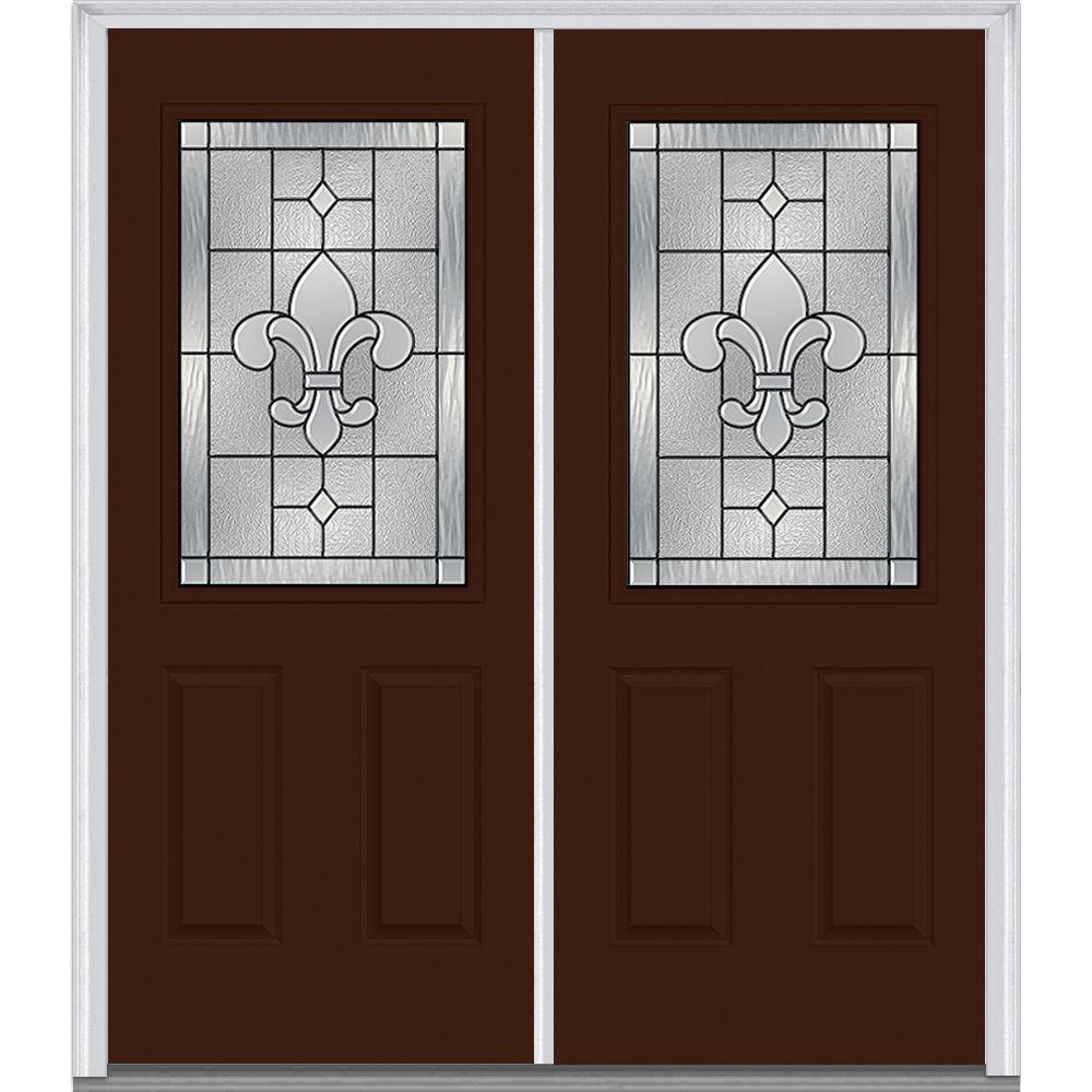 Milliken Millwork 74 in. x 81.75 in. Carrollton Decorative Glass 1/2 Lite Painted Majestic Steel Exterior Double Door