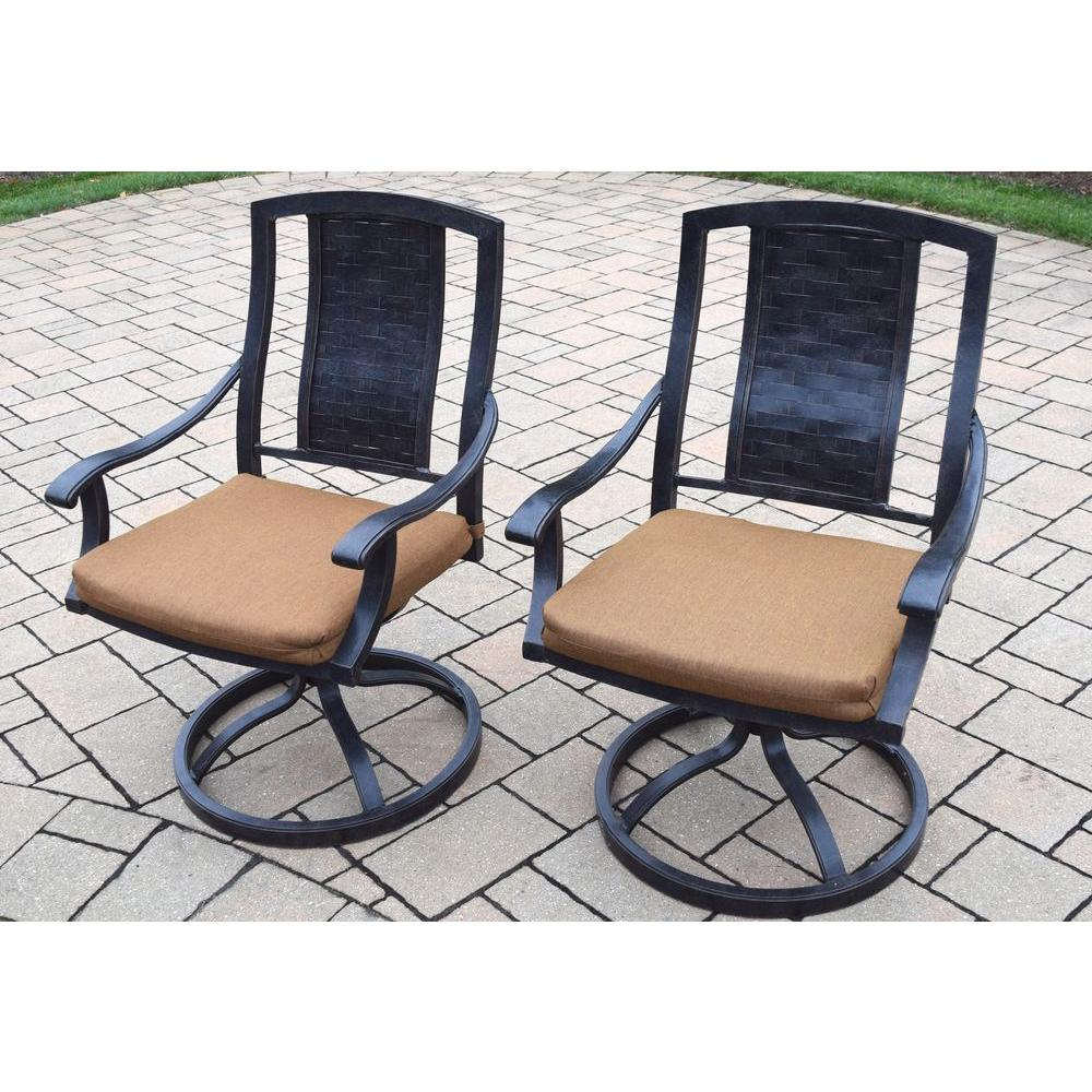 Vanguard Aluminum Patio Dining Chair With Sunbrella Canvas Teak Cushion  (2 Pack)