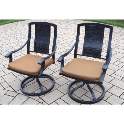 Vanguard Aluminum Patio Dining Chair with Sunbrella Canvas Teak Cushion (2-Pack)