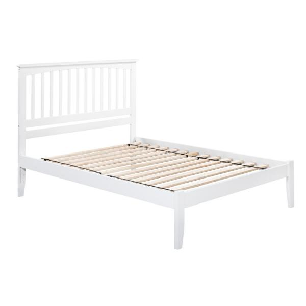Atlantic Furniture Mission White Queen Platform Bed with Open Foot Board