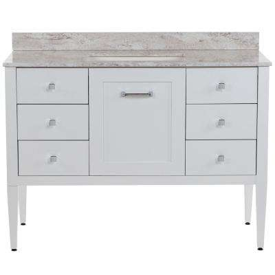 Hensley 49 in. W x 22 in. D Bath Vanity in White with Stone Effects Vanity Top in Winter Mist with White Basin