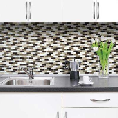Murano Stone Approximately 3 in. W x 3 in. H Taupe, White and Gray Marble Decorative Mosaic Wall Tile Backsplash Sample