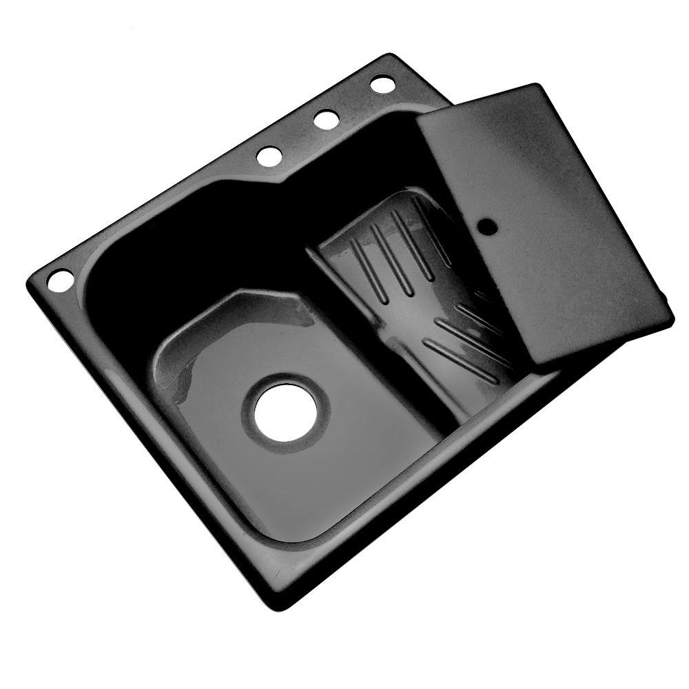 Thermocast Lakemount Drop-in Acrylic 25x22x9 in. 4-Hole Single Basin Kitchen Sink in Black-DISCONTINUED