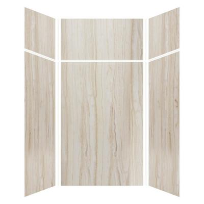 Expressions 48 in. x 48 in. x 96 in. 4-Piece Easy Up Adhesive Alcove Shower Wall Surround in Sorento