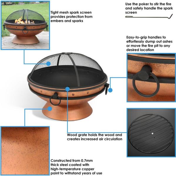 Sunnydaze Decor 30 In Copper Royal Cauldron Fire Pit With Handles And Spark Screen Nb Ffp30 Copper The Home Depot