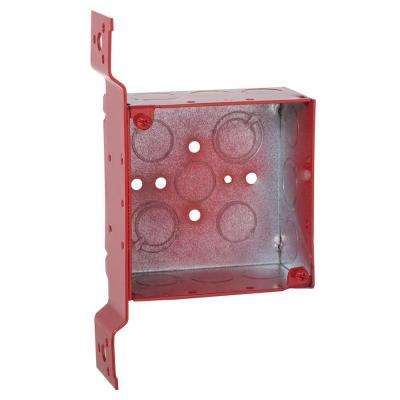 4 in. Square Welded Box, 2-1/8 Deep with 1/2 and 3/4 in. TKO's and FM Bracket - Life Safety Red (25-Pack)