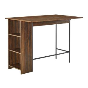 Deals on Welwick Designs 48 in. Dark Walnut Counter Height Drop Leaf Table