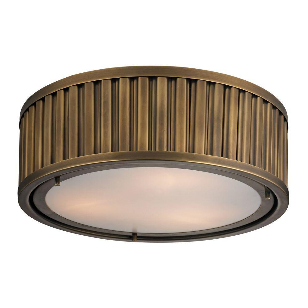 Munsey Park Collection 3-Light Aged Brass LED Flushmount