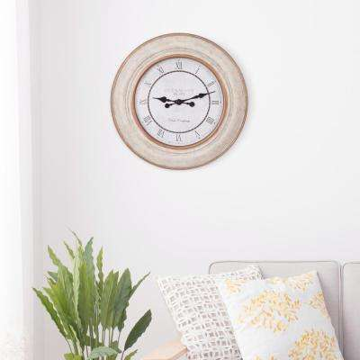 Roman Numeral Distressed White and Bronze Wall Clock