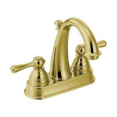 Kingsley 4 in. Centerset 2-Handle High-Arc Bathroom Faucet in Polished Brass with Drain Assembly