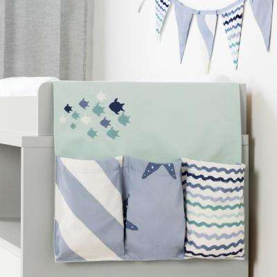 DreamIt Blue Cotton Little Whale Changing Table Runner and Pennant Banner
