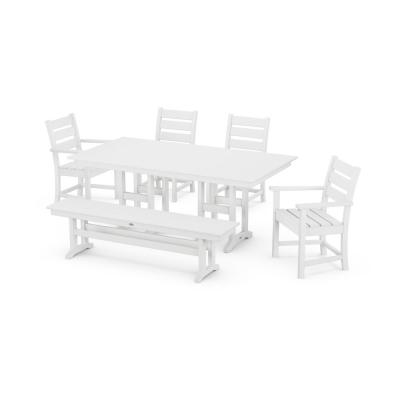 Grant Park White 6-Piece Plastic Outdoor Dining Set with Bench