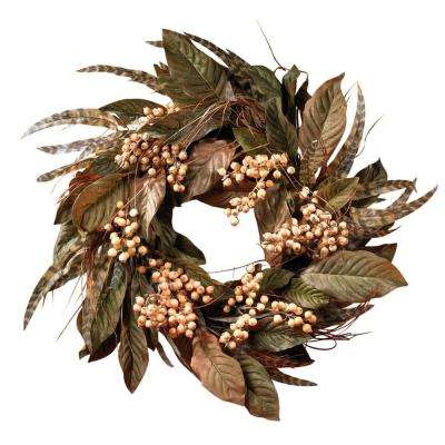 24 In. Berry and Feather Wreath