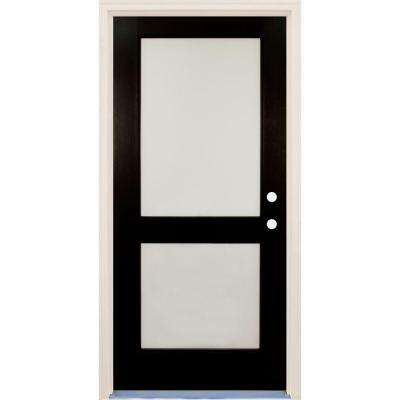 36 in. x 80 in. Elite Inkwell 2 Lite Satin Etch Glass Contemporary Painted Fiberglass Prehung Front Door with Brickmould