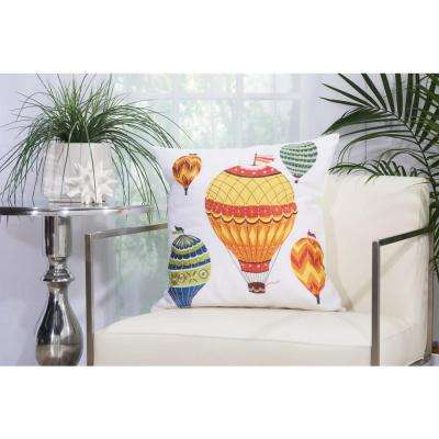 Hot Air Balloons 20 in. x 20 in. Multicolor Indoor and Outdoor Pillow