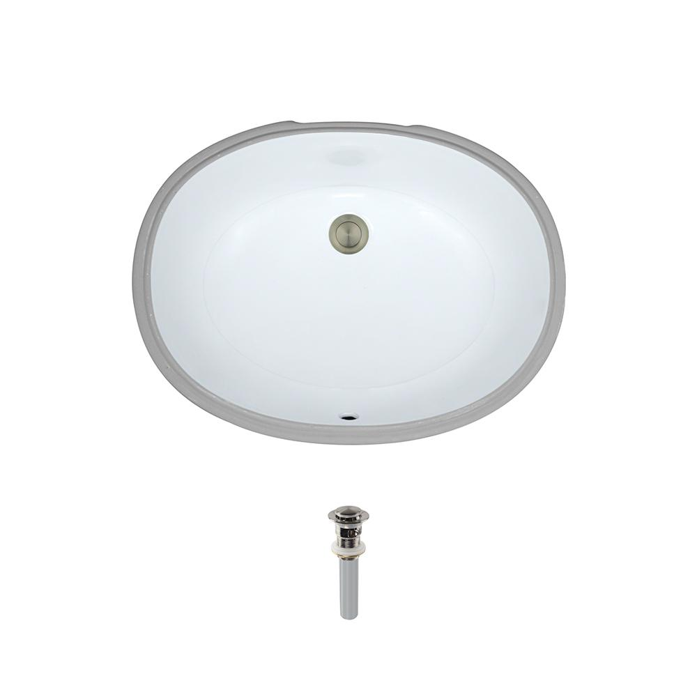 Glacier Bay Oval Undermounted Bathroom Sink in White14028W The