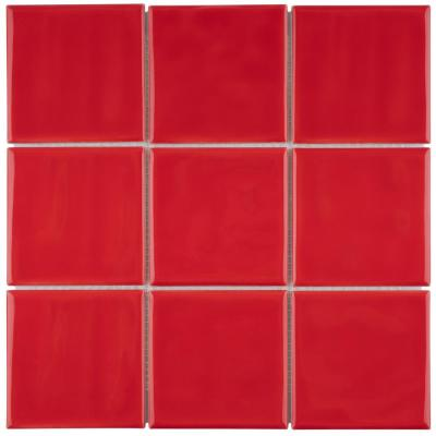 Twist Square Red Cherry 11-3/4 in. x 11-3/4 in. Ceramic Mosaic (9.79 sq. ft. /Case)