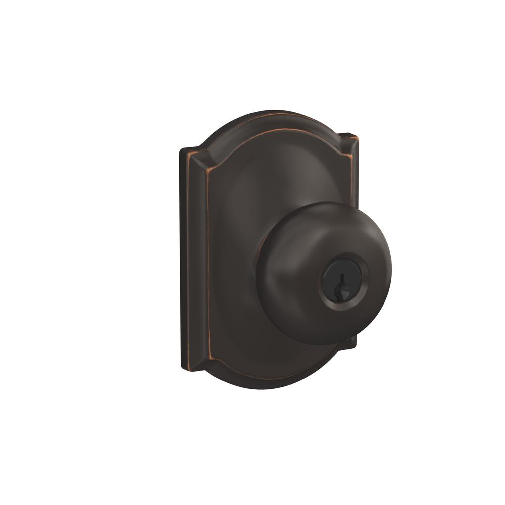 Schlage Plymouth Aged Bronze Keyed Entry Door Knob With Camelot Trim F51a Ply 716 Cam The Home