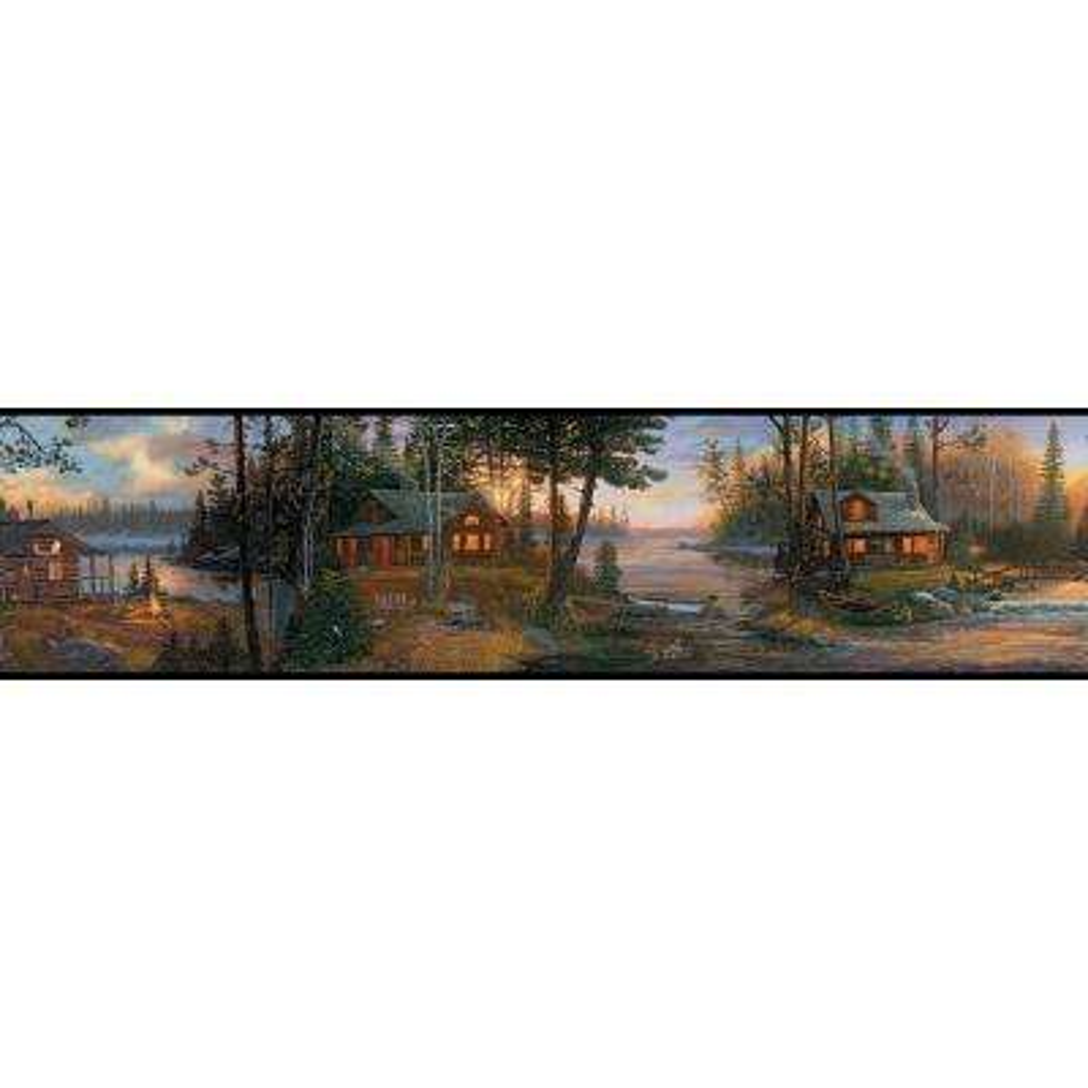 Lake Forest Lodge Cabin Fever Wallpaper Border
