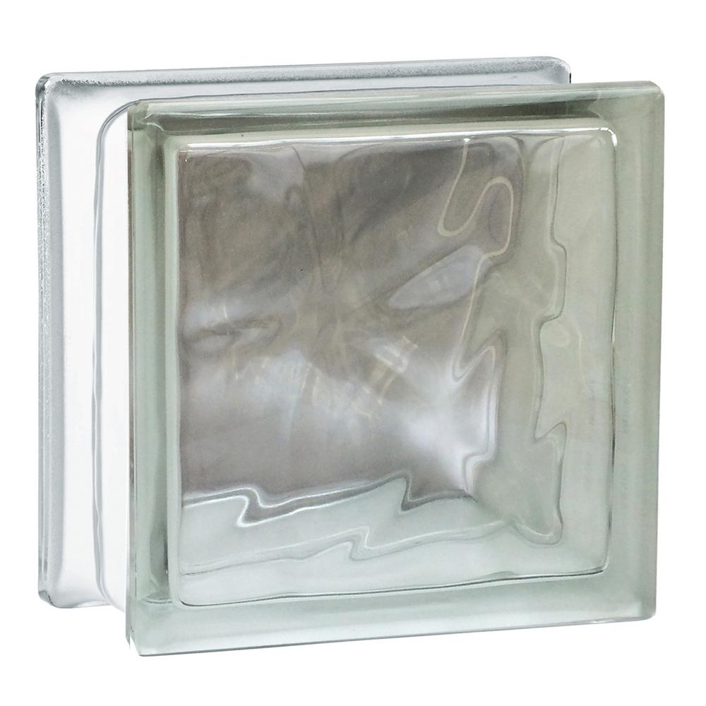 Seves Nubio 4 in. Thick Series 7.75 in. x 7.75 in. x 3.875 in. Wave Pattern Glass Block