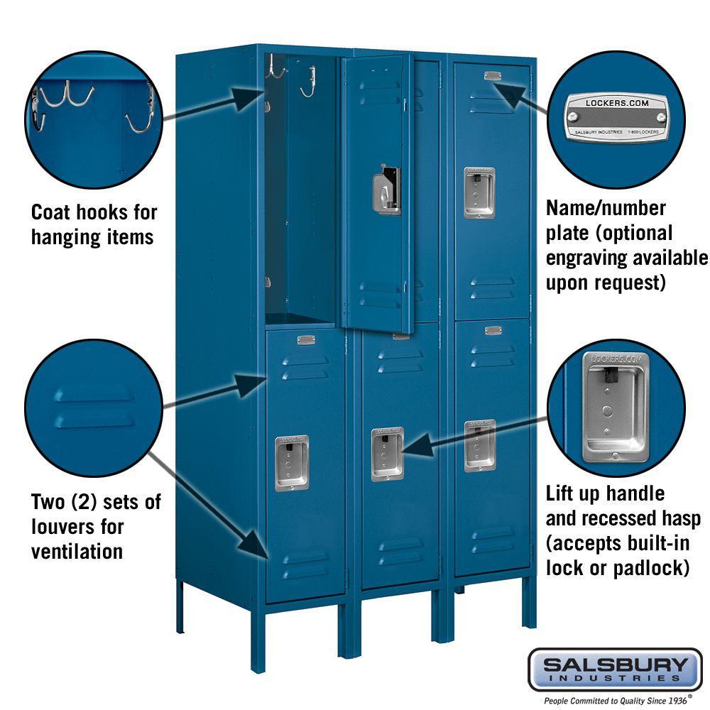 Salsbury Industries 62000 Series 36 In W X 66 In H X 18 In D 2 Tier Metal Locker Unassembled In Blue 62358bl U The Home Depot