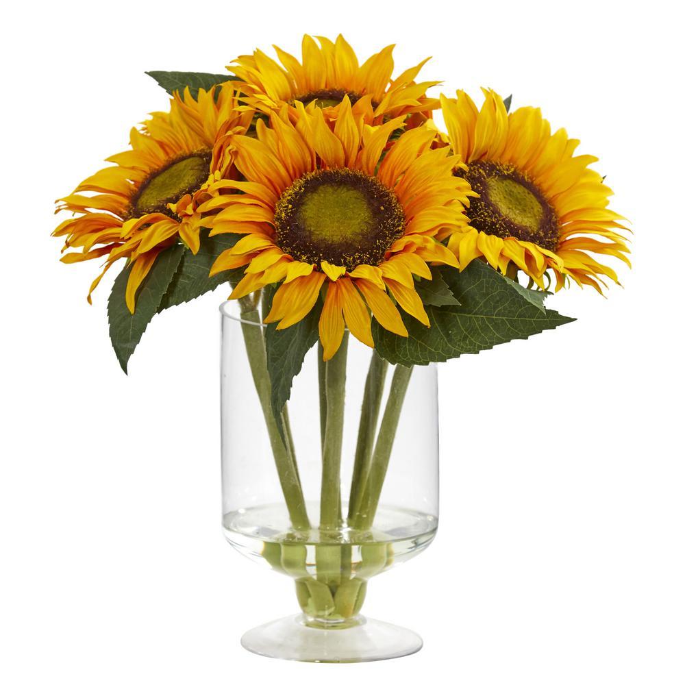 12 in. Sunflower Artificial Arrangement in Glass Vase