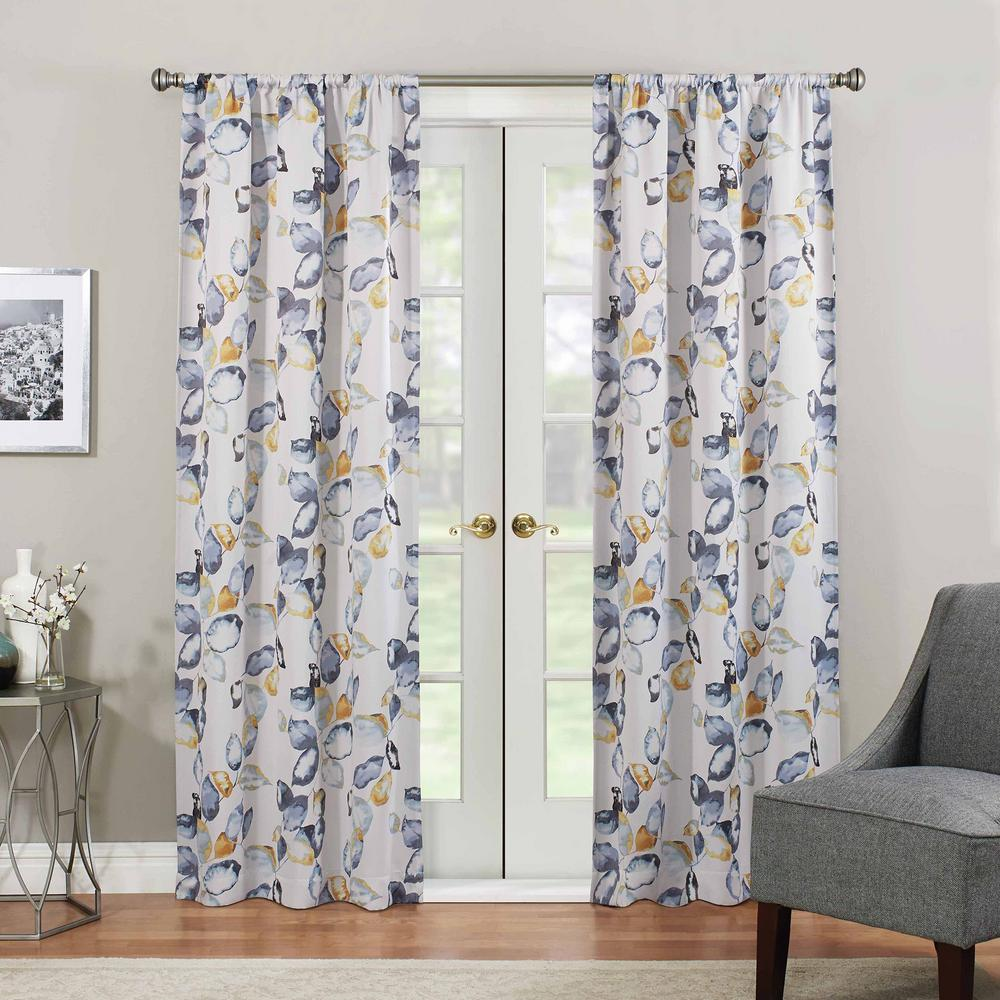Eclipse Blackout Paige 63 in. L Yellow Rod Pocket Curtain
