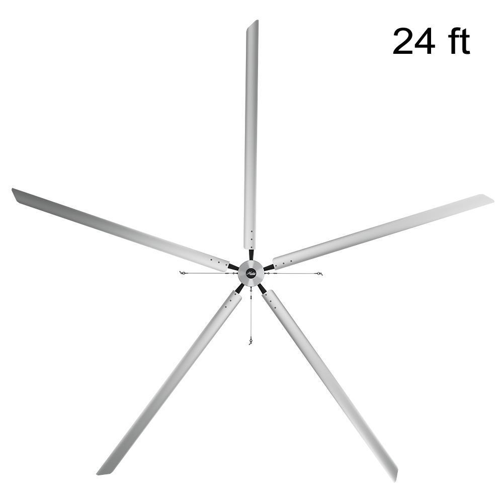 Titan 24 ft. 220-Volt Indoor Anodized Aluminum Single Phase Commercial Ceiling Fan