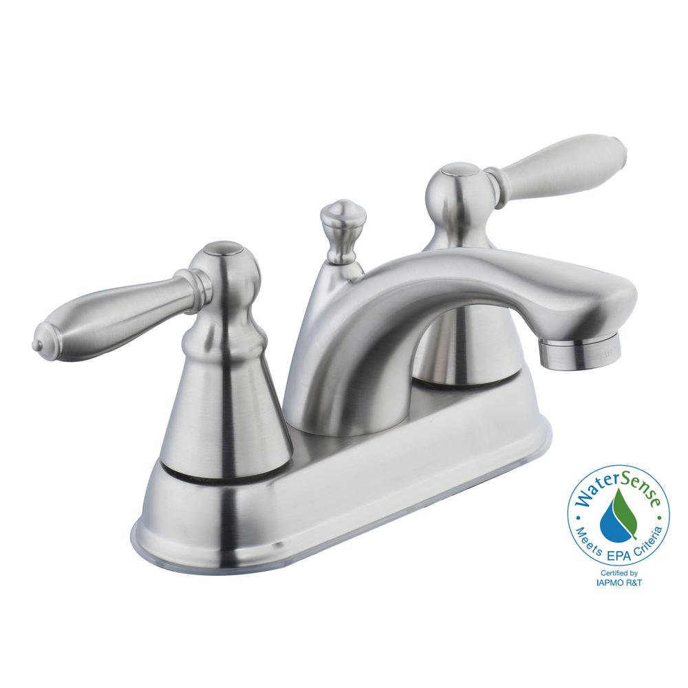 Adley 4 in. Centerset 2-Handle Low-Arc Bathroom Faucet in Brushed Nickel