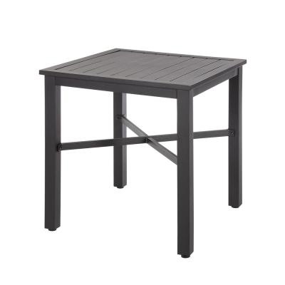 26 in. Mix and Match Black Square Metal Outdoor Patio Bistro Table with Slat Top