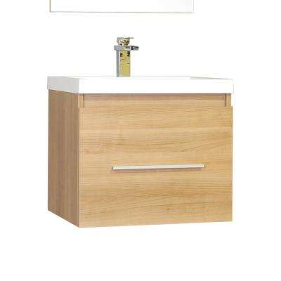Ripley 24 in. W x 18.75 in. D x 21 in. H Vanity in Light Oak with Acrylic Vanity Top in White with White Basin