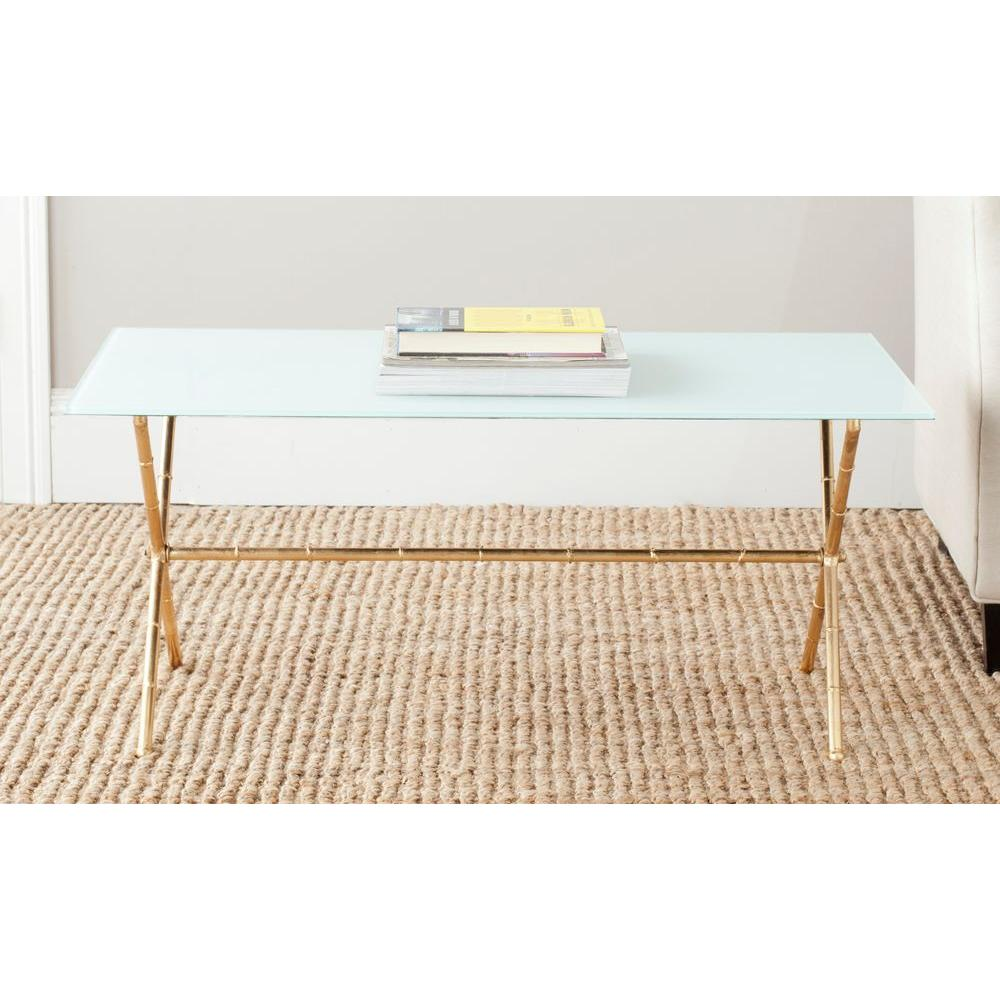 Safavieh brogen gold and white coffee table fox2527c the for White and glass coffee table
