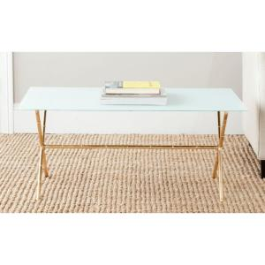 Brogen 38 in. White/Gold Medium Rectangle Glass Coffee Table