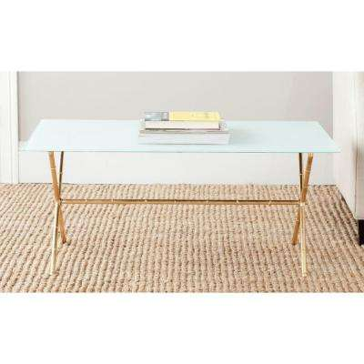 Brogen Gold And White Coffee Table. White Glass Top ...