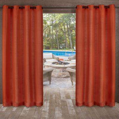 Delano 54 in. W x 84 in. L Indoor Outdoor Grommet Top Curtain Panel in Mecca Orange (2 Panels)