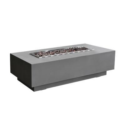 Granville 60 in. x 27 in. x 17 in. Rectangle Concrete Natural Gas Fire Pit Table in Light Gray
