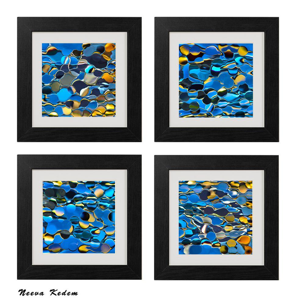 "Four 10 in. x 10 in. ""Blue Fantasy"" by Neeva Kedem Framed Printed Wall Art"