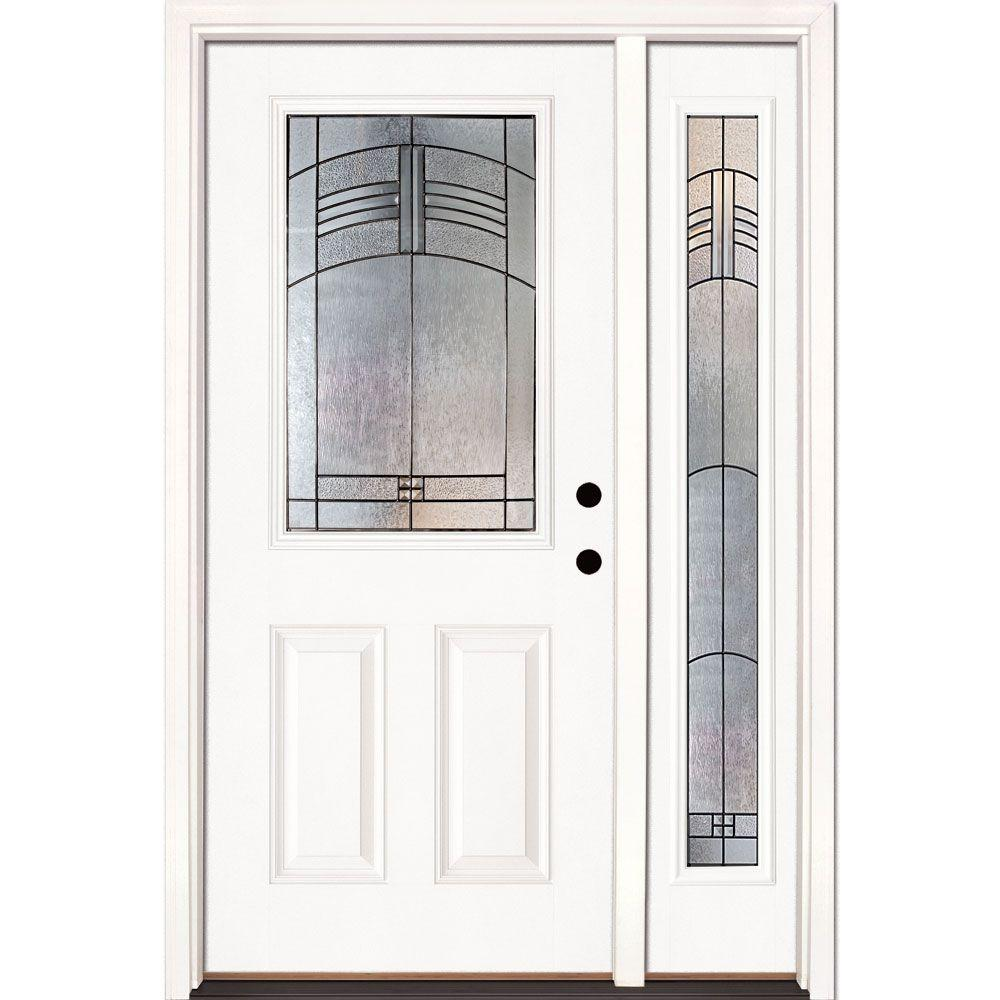 Feather River Doors 50.5 in. x 81.625 in. Rochester Patina 1/2 Lite Unfinished Smooth Left-Hand Fiberglass Prehung Front Door with Sidelite