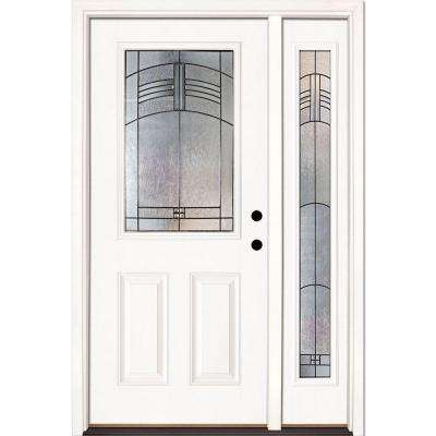 50.5 in. x 81.625 in. Rochester Patina 1/2 Lite Unfinished Smooth Left-Hand Fiberglass Prehung Front Door with Sidelite