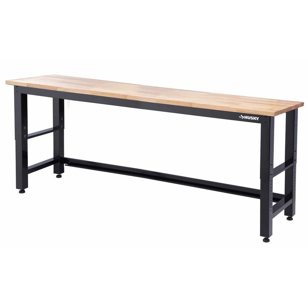 Husky 8 Ft Solid Wood Top Workbench G9600 Us1 The Home Depot
