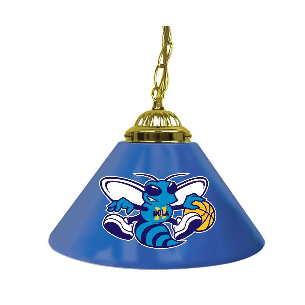 Trademark Global New Orleans Hornets NBA 14 in. Single Shade Gold Hanging Lamp